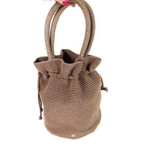 The Sak Bucket Bag Crocheted Satchel Taupe